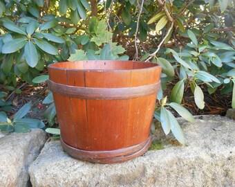 Rustic Antique Wooden Keeler Sap Bucket Barrel Tub Primitive Newborn Baby Wood Bucket Photo Prop