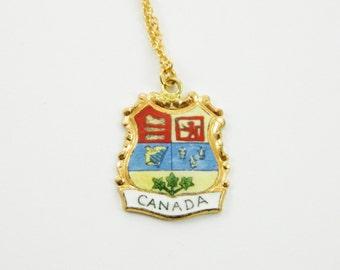 Vintage Canada Necklace - Canada Pendant Necklace - Canada 150