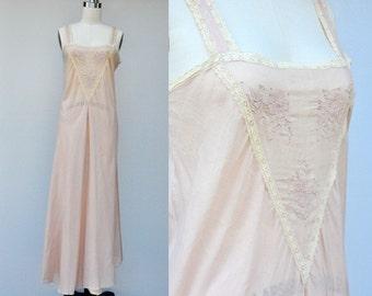 Vintage Cotton Lace SLIP Dress - Night Gown - Bias Cut - Embroidered - Flapper Boudoir Bride Lingerie Pink Peach Slip - 30s 40s size  XS - S