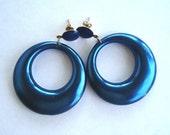 Vintage Pearlized Blue Plastic Hoop Enamel Goldtone Pierced Dangle Earrings