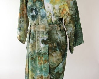 O/S Lady's Rayon Robe, Ice Dyed Tie Dyed in Shades Of Green and Gold,  One Size, MADE TO ORDER