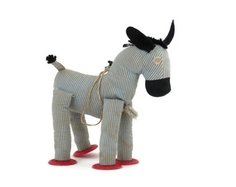 Vintage Striped Horse Stuffed Toy by Knickerbocker Blue and White Cotton w/Red Hooves