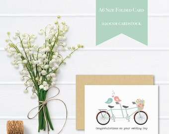 Wedding Day Card | Wedding Card Congratulations | Tandem Bike with Love Birds | WED045 | Handmade Card | Wedding Card Wishes | Card Wedding
