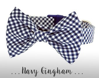 Navy Blue Gingham Dog Collar and Bow Tie; Blue Plaid Bow Tie Dog Collar: Navy Gingham