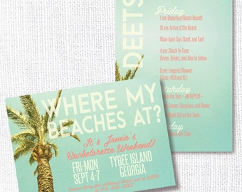 Beach Bachelorette Party Invitation, Printable, Bachette Invite, Beach Weekend, Bash, Getaway, Hens Party, Lingerie Shower, Where My Beaches