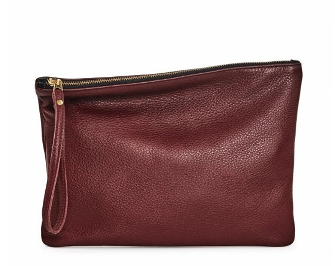 Burgundy leather clutch, evening bag, fold over leather clutch