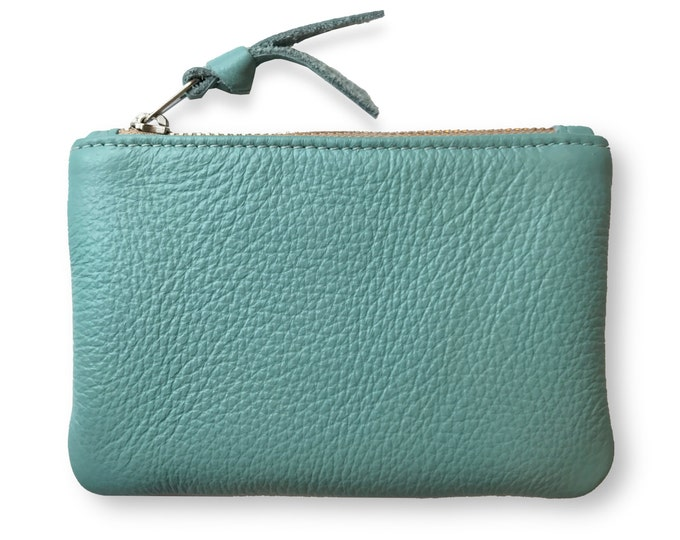 Aqua leather coin purse, credit card holder, leather pouch