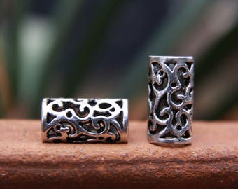 6 Tibetan Style Silver Dreadlock Beads 8mm Hole (5/16 Inch)