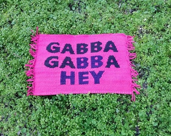 MADE TO ORDER Ramones Gabba Gabba Hey hand woven welcome mat - Environmentally friendly cotton rag rug - Handmade punk rock present - Home