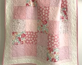 Modern Patchwork Baby Girl Quilt Sweet Baby Rose Collection Shades of Pink and White