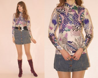 Vtg 70s Psychedelic Coral Reef Silk Shirt