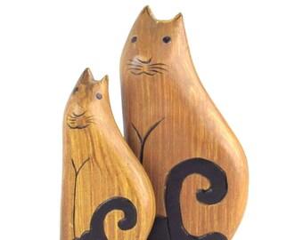 Folk Art Kitty Cat Figures - Window Sill Sitters - Sleek Silhouette Figurines - Mother Cat and Kitten Sculptures - Vintage Home Decor