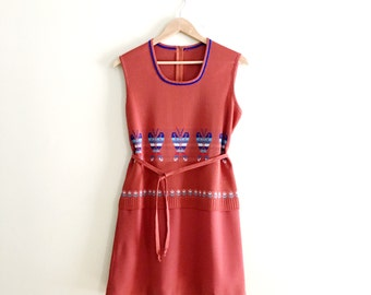 Vintage Butterfly Print Scooter Dress / Novelty Print Rust Mini Dress / Tank Dress  - 1970s
