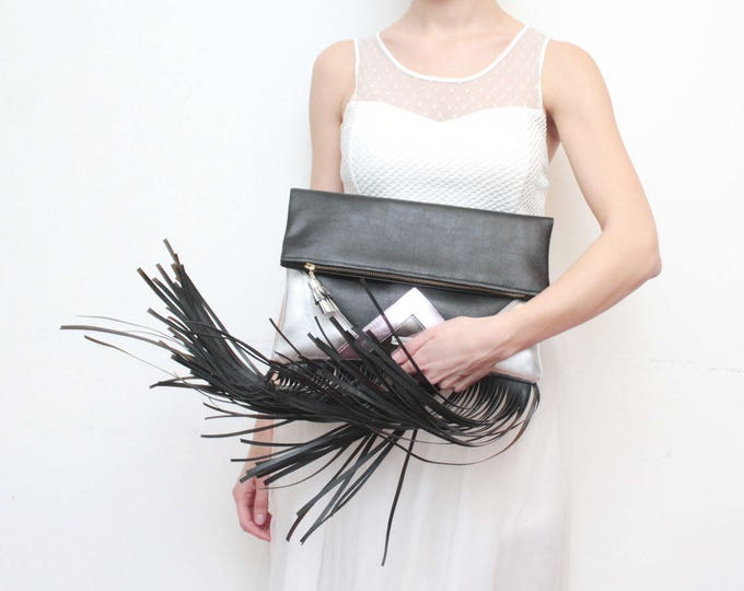 CARRIER 178 / Large leather purse- fringe clutch bag-bohemian purse-oversized leather bag-silver metallic bag-black pink bag-Ready to Ship