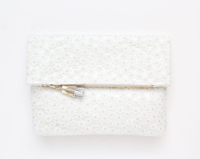 BRIDAL 4 / Fold over clutch bag-leather purse-romantic bag-wedding bag-bridal purse-floral lace-romantic bag-white handbag-Ready to Ship