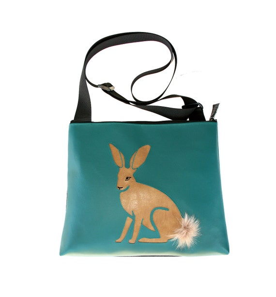 Jack rabbit, brown vinyl, blue vinyl, fake fur, vegan, vegan leather, large, cross body bag