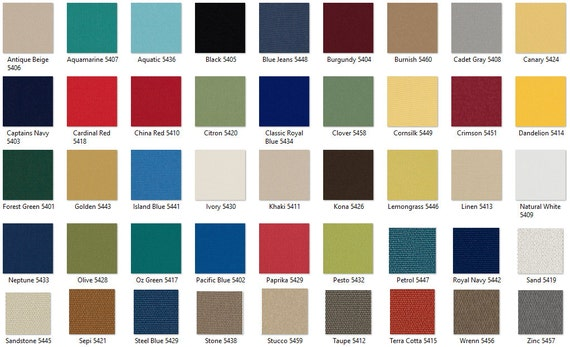 Outdura 8 oz Furniture Weight Indoor/Outdoor Solid Canvas Swatches