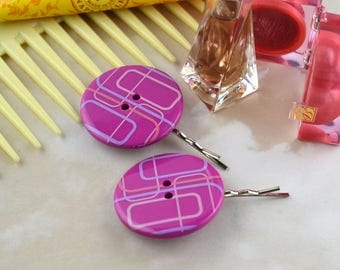 Large Purple and Pink Retro Look Buttons - Upcycled - Repurposed - Hair Accessories - Clips - Slides - Bobby Pins