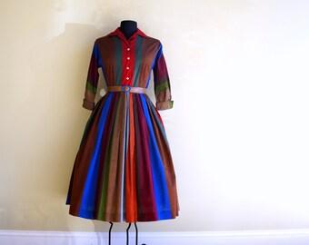 1950s Shirtwaist Dress MEDIUM Jewel Tone Fall Color Striped Cotton 50s Dress Pleated Full Skirt Brown Red Green Blue Purple Kay Windsor