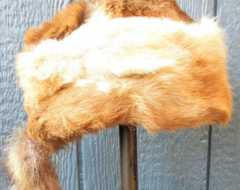 SALE...1950s Coonskin Tail Cap with Rabbit Fur Body, Cotton Lined Interior/Alaska Coonskin