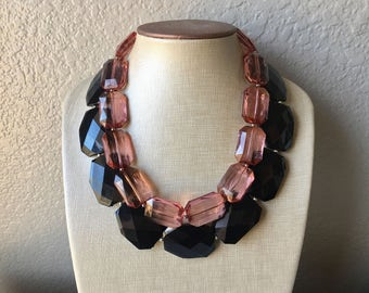Black & Rosegold Necklace, multi strand jewelry, big beaded chunky statement necklace, rosegold necklace, bridesmaid necklace, bib necklace