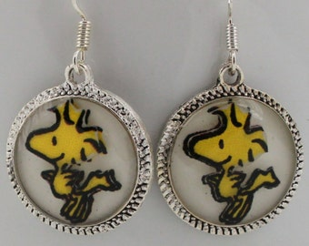 Woodstock Snoopy Earrings Jewelry Character Silver Bronze Picture Round 3D Dimensional