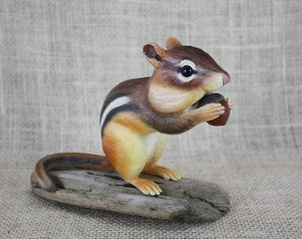 Chipmunk with Acorn Hand Carved Sculpture By Mike Berlin