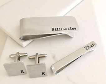 Gift for him, Groomsmen gifts, Personalized gifts, Custom gift for him, initials, monogram, money clip, credit card, tie clip, cufflinks
