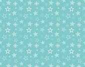 "CLEARANCE SALE 30% OFF Riley Blake Designs ""Merry Little Christmas"" by Zoe Pearn - Merry Stars Aqua - 1/2 yard"