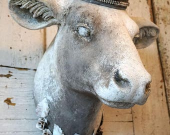 Cow head wall mount faux painted white taupe gray rustic French farmhouse mounted heifer taxidermy hanging home decor anita spero design