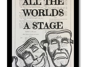 """William Shakespeare """"As you like it"""", Shakespeare Quote,Shakespeare Book Print- """"All The World's A Stage"""" , Shakespeare Book Page Size 7x10"""