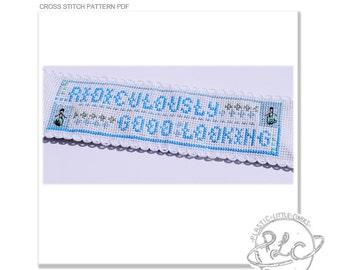 "Bookmark Cross Stitch Pattern ""Ridiculously Good Looking"". PDF instant download modern cross stitch. Zoolander"