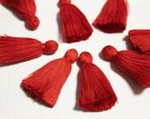 Red High Quality Jewelry Tassels, 2'' Handmade Cotton Indian Tassels (TS4)
