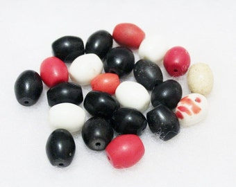 Bohemian Trade Beads Black White Red (23), African Trade Beads, Bohemian Egg Beads (c15)