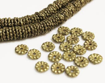 18 African Brass Beads 12 mm, Tribal Beads, African Trade Beads, Spacer Beads (AH155)