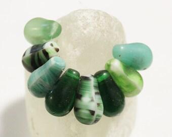 Green Mali Wedding Beads, Bohemian Glass Beads, African Trade Beads (AH200)