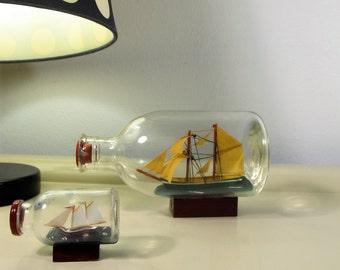 Vintage Ship in a Bottle Vintage Set with Wooden Pedestal  Nautical Decor Memorabilia
