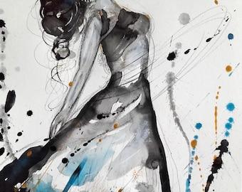 Dancer Woman Painting Dancer Watercolor Body Art Woman Beauty Dancer Fine Art Dancer Wall Art Home Decor Original Watercolor Grey Blue