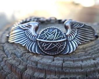 Amazing Vintage Sterling Silver WW2 Sweetheart Bracelet