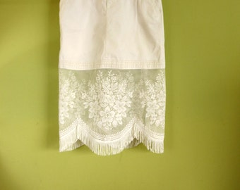 Boho Chic White Lace Skirt with Vintage European Lace and Vintage 90s Skork