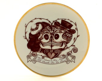 """Sugar Skull, Personalized Engagement, Day of the Death, Bride Groom, Altered Plate 7.48"""" Vintage Porcelain, Customized Names Date, Halloween"""