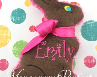 EMILY - Already Personalized - Stuffed Chocolate Easter Bunny