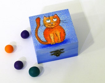 Cat art box Blue Small orange box Wooden hand painted box Jewelry box Whimsical art gifts Wooden box Trinket box Cat lover Treasure box