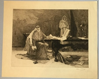 Religious engraving Cardinal burning papers Monk in habit Signed Arthur J Turrell engraver
