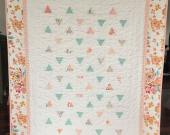 Spring Summer Baby Toddler Minimal Triangles Quilt Blanket Girl Modern Patchwork  Pink Peach Blue White Floral Bright Colorful