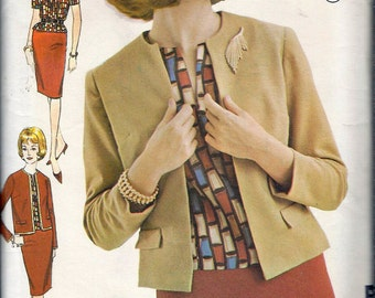 Vintage 1960's Advance 3124 Misses Separates Jacket, Blouse & Skirt, Sewing Pattern Size 14 Bust 34""