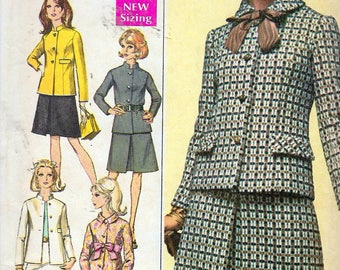 """Vintage 1968 Simplicity 7862 Designer Fashion Mod Women's Two-Piece Suits Sewing Pattern Size 12 Bust 34"""""""