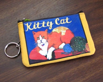 Kitty Cat Wallet ~ Coin Purse ~ I.D. Holder ~ Key Chain Clutch - with Sequins and Beads by Rolf, Vintage 1980's
