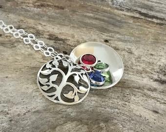 Custom Birthstone Tree Locket |Grandmas Necklace |Personalized Grandma Gift |Grandma Necklace |Tree of Life |Mothers Necklace |Tree Necklace