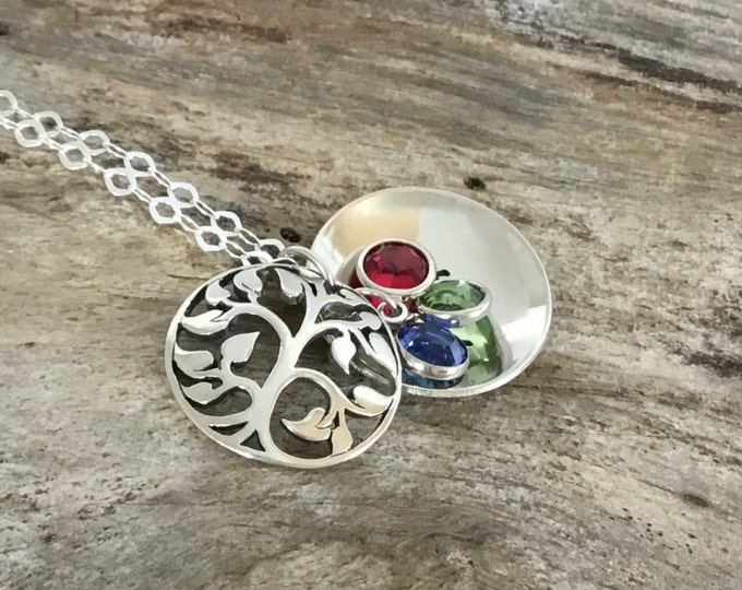 Custom Birthstone Tree Locket |Grandmas Necklace |Personalized Grandma Gift |Grandma Necklace |Tree of Life |Mothers Necklace |Tree Necklace